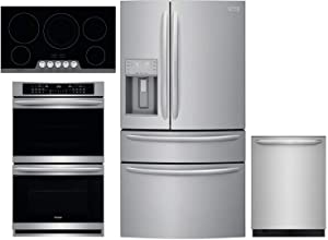 "Frigidaire 4 Piece Kitchen Package FG4H2272UF 36"" French Door Refrigerator,FGET3066UF 30"" Electric Double Wall Oven,FGEC3648US 36"" Electric Cooktop FGID2479SF 24"" Built Dishwasher in Stainless Steel"