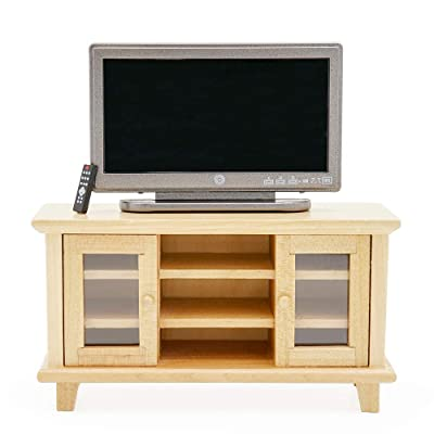 Odoria 1:12 Miniature TV and Cabinet with Remote Control Dollhouse Furniture Accessories: Toys & Games