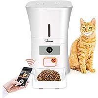 SKYMEE Comedero Automático para Gatos y Perros, Alimentador Programable con WiFi Cámara HD de 1080P Visión Nocturna Grabador de Voz, Dispensador de Comida para Mascotas (8L)