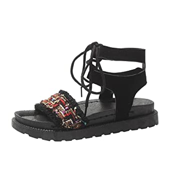 3 Color Women Open Toe Gladiator Braid Faux PU Lace Up Ankle Tie Flat Sandals