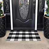 SEEKSEE 100% Cotton Plaid Rugs Black/White Checkered Plaid Rug Hand-Woven Buffalo Checkered Doormat Washable Porch Kitchen Ar