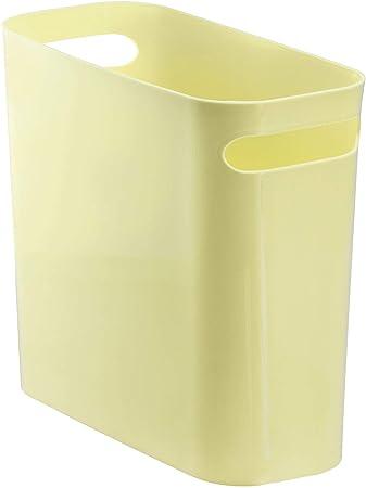 bleu poubelle en plastique avec poign/ées conteneur /à papier pour bureau InterDesign Una corbeille /à papier cuisine ou salle de bain