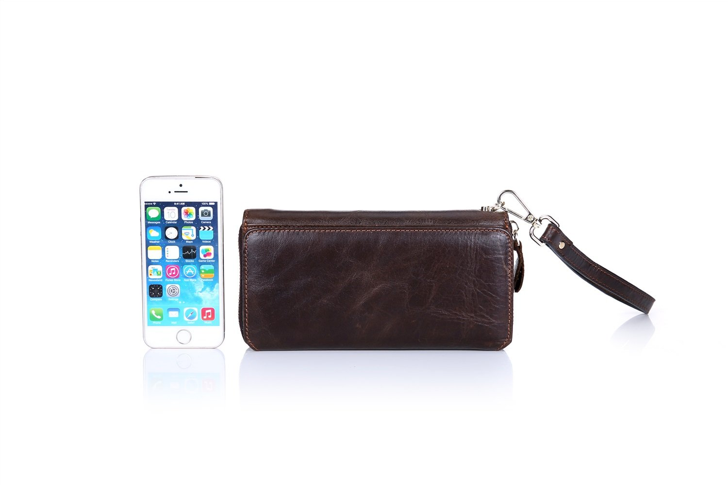 Color : Brown, Size : S MUMUWU Mens Long Travel Wallet Leather Business Hand Bag Multi-Function Suede Leather Multi-Card Position