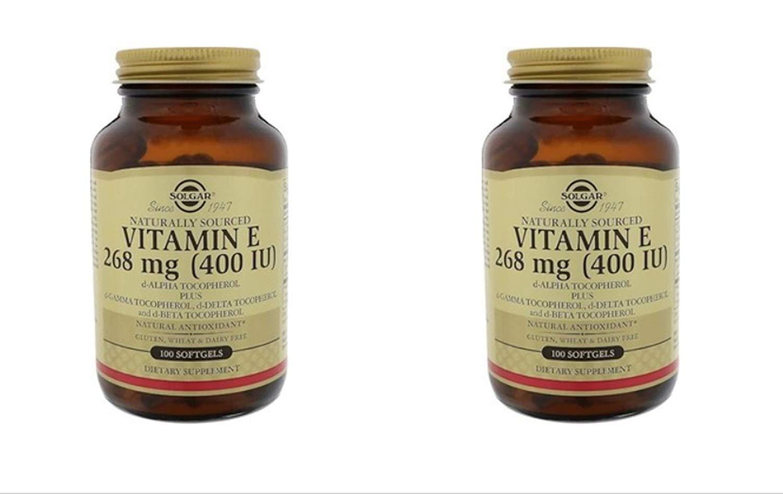 Solgar Vitamin E 400 IU Mixed (d-Alpha Tocopherol & Mixed Tocopherols) 100 Softgels (2 Pack)