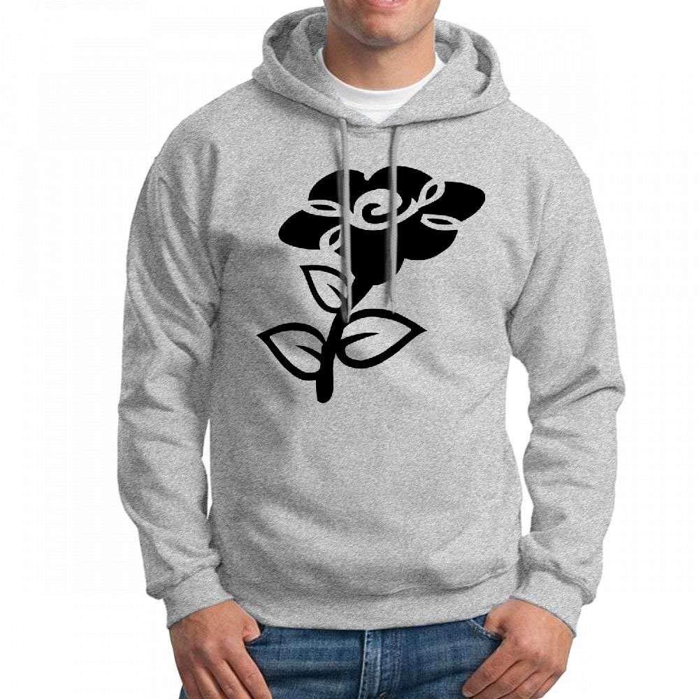 Grey JanJan3366 Sweatshirt Black Flower Mens Hoodies