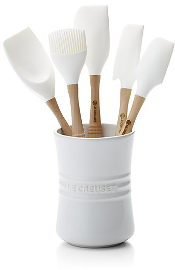 Le Creuset ® White 6-Piece Utensil Crock Set | Crate and Barrel