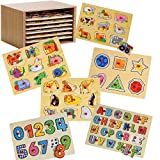 Constructive Playthings Cp Toys Puzzle Storage Case With 6 Knobbed Wooden Puzzles
