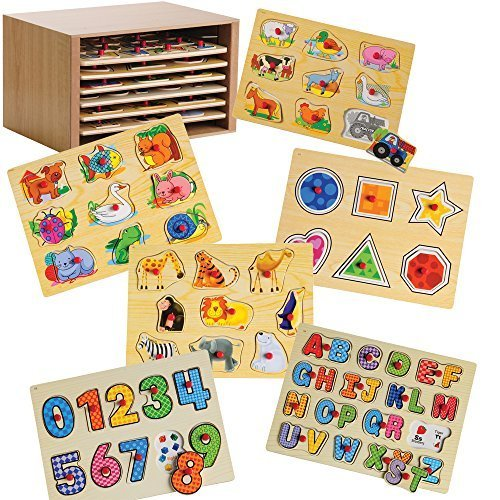 Constructive Playthings Cp Toys Puzzle Storage Case With 6 Knobbed Wooden Puzzles - Box Puzzles Toys