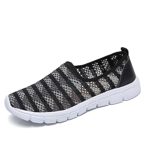 Sneakers Donna Sportive Scarpe da Ginnastica Walking Slip on Vuote Loafer  Maglia Calzature da Corsa Atletiche 073038df0b8