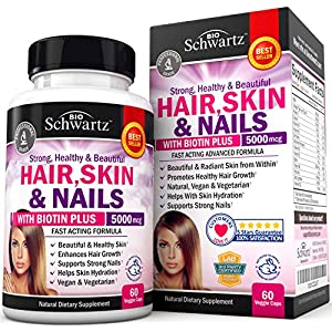 Hair Skin and Nails Vitamin with Biotin 5000. Promotes Hair Growth Glowing Skin Strong Nails. Natural & Non GMO. Good as Phytoceramides 350 mg Anti Aging Skin Care. Made in USA Money Back Guarantee
