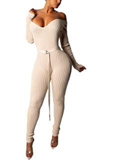 728c68143e0c Ohvera Women s Striped Knitted Off Shoulder V Neck Long Sleeve Sweaters  Jumpsuit Romper with Belt