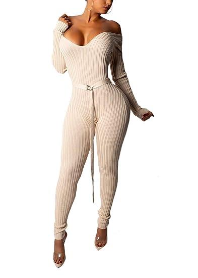 34328e4d7a72 Ohvera Women s Striped Knitted Off Shoulder V Neck Long Sleeve Sweaters Jumpsuit  Romper with Belt Beige