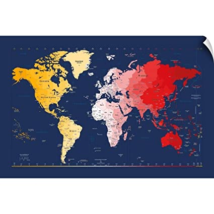 Amazon.com: CANVAS ON DEMAND World Timezone map Wall Peel ...