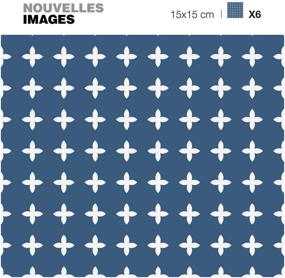 Stickers Carrelage pour red/écorer facilement votre int/érieur Lot de 6 Carr/és Adh/ésifs bleus avec croix blanche 15 x 15 cm Carrelage Adh/ésif Mural Draeger