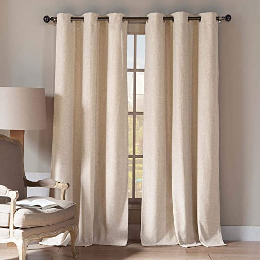 Home Maison – Keighleyann Natural Linen Blend Textured Grommet Top Window Curtains for Living Room Bedroom – Assorted Colors – Set of 2 Panels 108 X 84 Inch – Linen