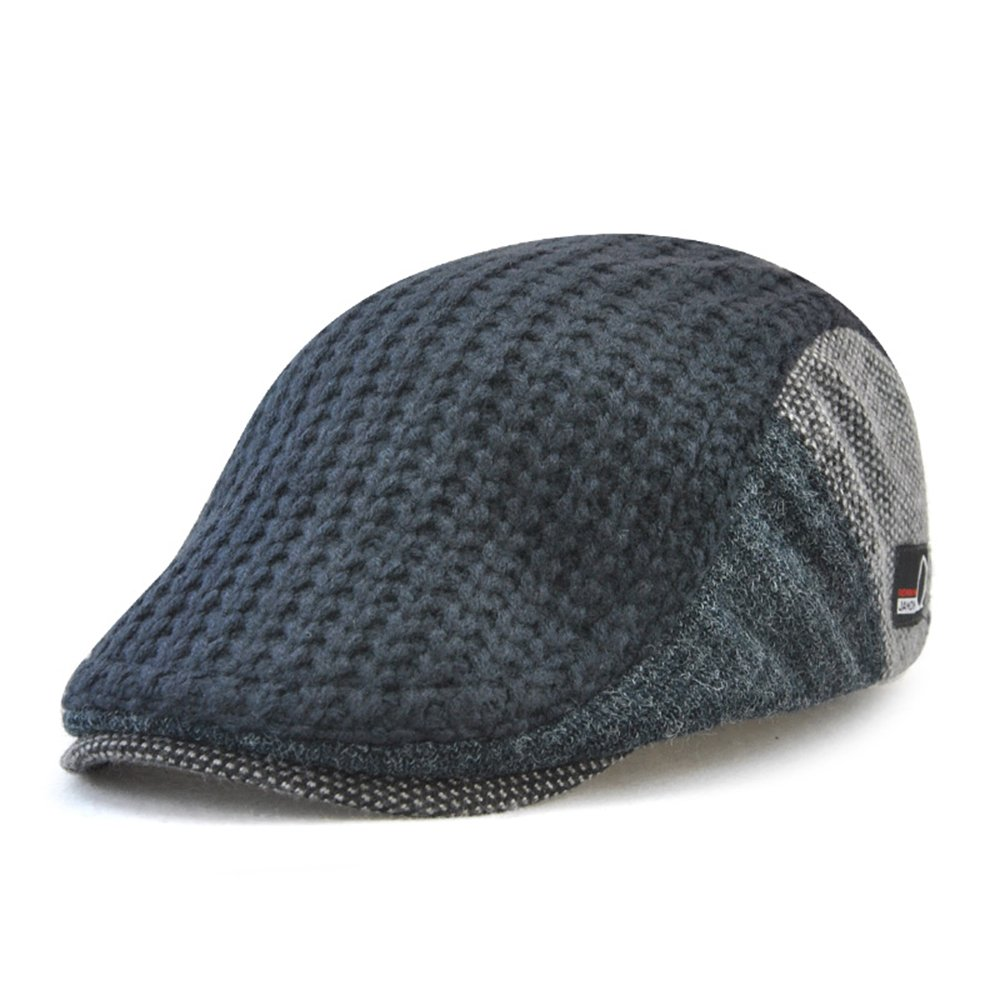 Autumn Winter Knitted Woollen Beret Hat Casquette Flat Visor Newsboy Cap For Men E8228