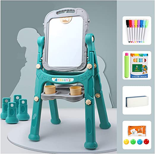 Height Adjustable Children Drawing Board with Art Supply Starter Kit,Blue Kids Art Easel Whiteboard/&Chalkboard Double Sided Stand