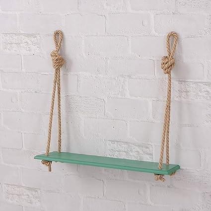 Estantes flotantes Floating shelves wall shelf 1/2/3 Nivel Estante de columpio de cuerda Estantería elegante lamentable de la vendimia con estante de ...