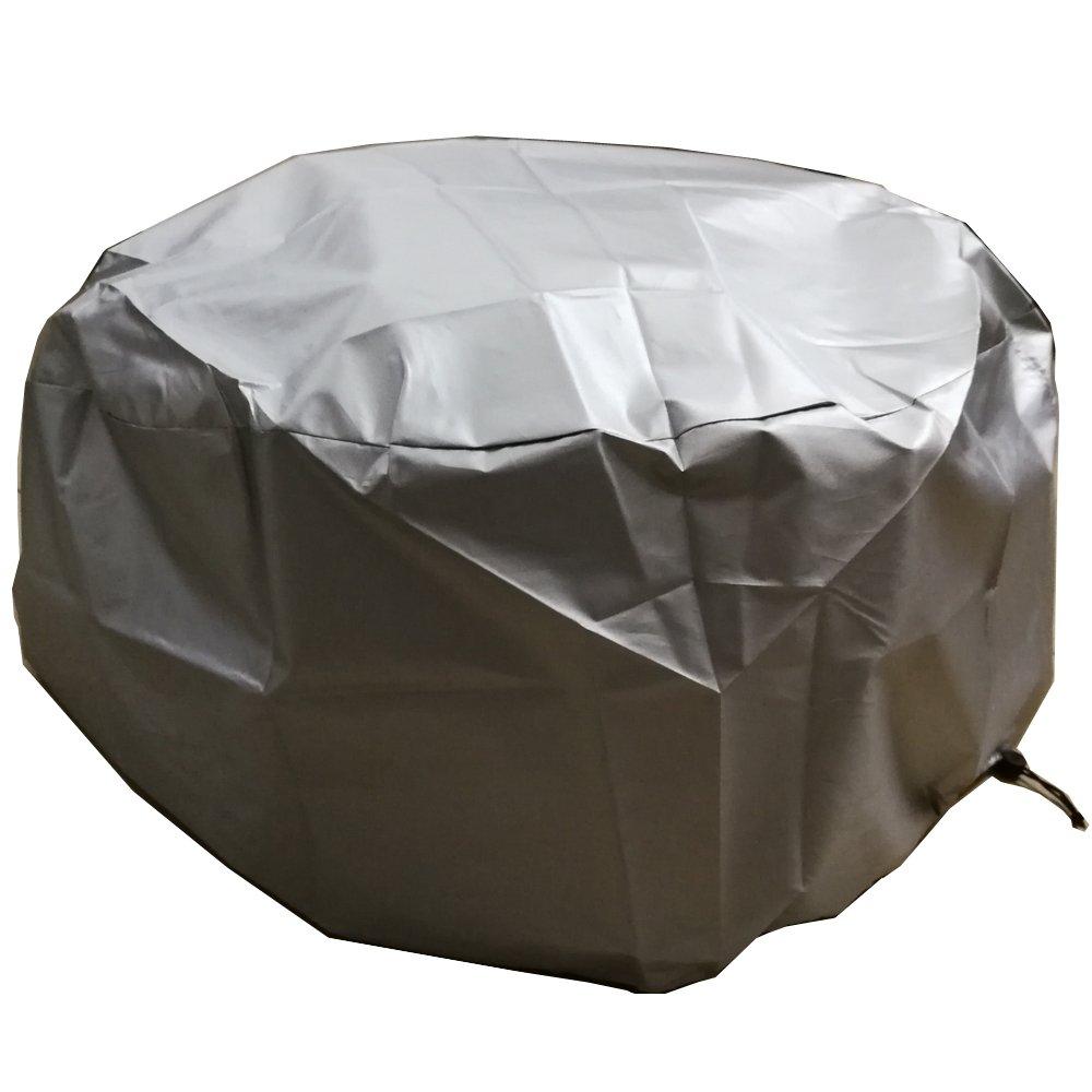 LU2000 Housse ronde pour foyer d'extérieur, Foyer de protection Housse de pluie, imperméable de protection UV Housse de pluie, journal Brûleur Coque – Argent 30D x 11.8H