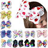 WZT 12 Pcs Grosgrain Girls Hair Bows With Alligator Clips 7 Inch Boutique Big Rainbow Bows For Teens Kids Toddlers