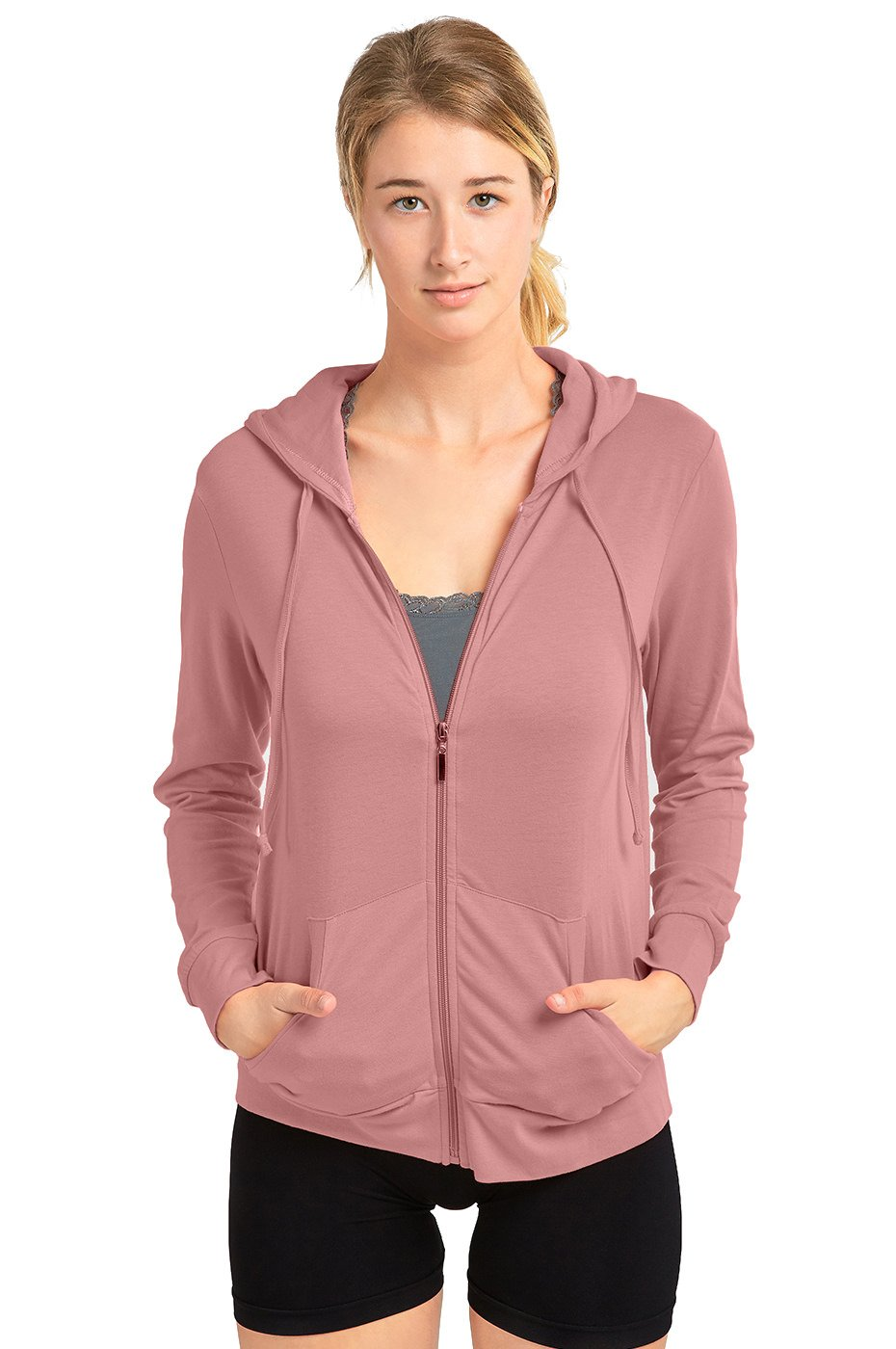 Sofra Women's Thin Cotton Zip Up Hoodie Jacket (XL, MV.Rose)