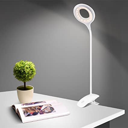 Clamp desk light glisteny dimmable clip bedside lamps 3 levels brightness flexible neck usb rechargeable
