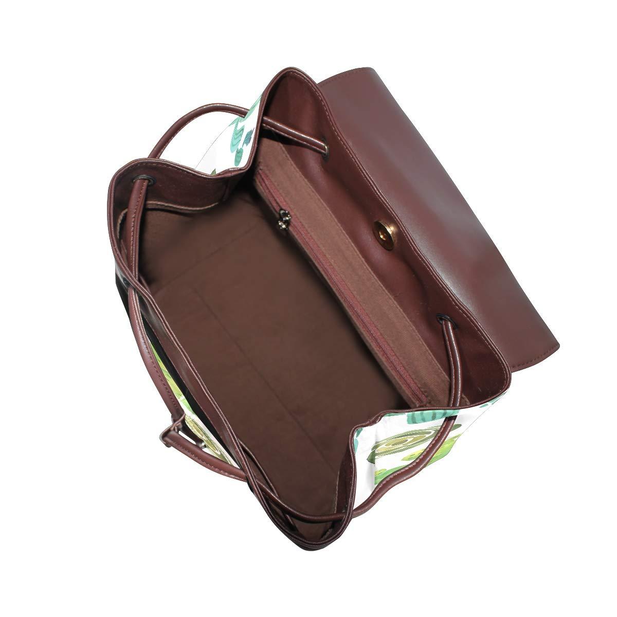 PU Leather Shoulder Bag,Watercolor Cactus Succulent Backpack,Portable Travel School Rucksack,Satchel with Top Handle