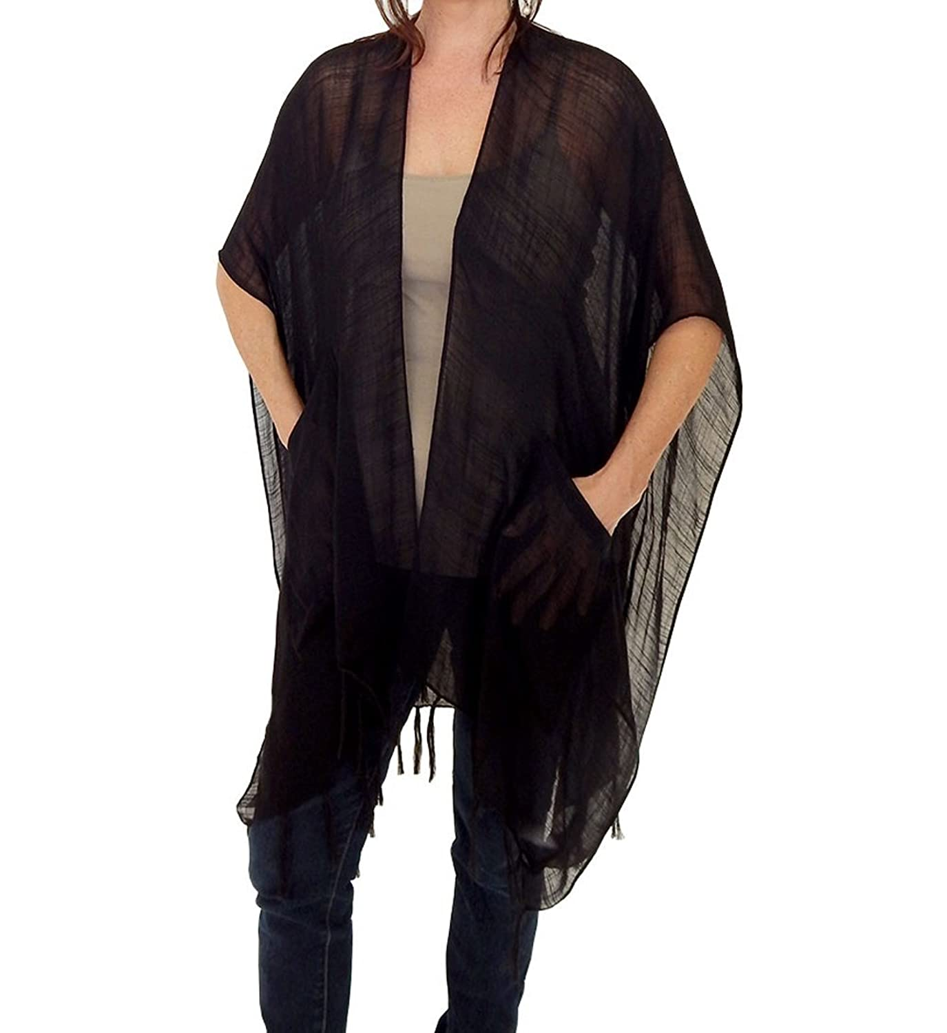 Alabama Girl Ruana Elegant Pocket Shawl in Black