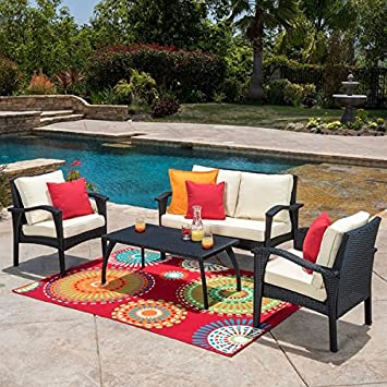 Honolulu Outdoor 4 Piece Wicker Seating Set And Cushions By Christopher  Knight Home (Black