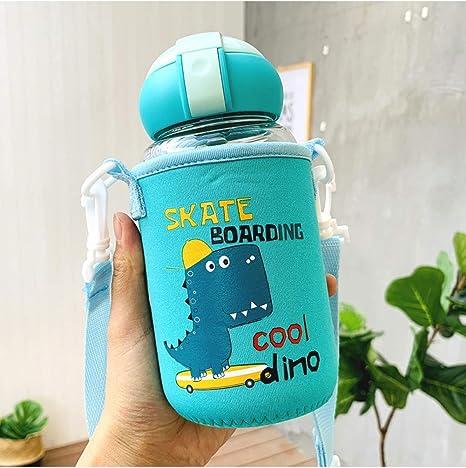 LMSHM Botella Deportiva Botellas de Agua de Vidrio de Paja de Dibujos Animados para niños Botellas de Vidrio de Agua portátil Resistente con Cubierta,Verde con Cubierta: Amazon.es: Deportes y aire libre