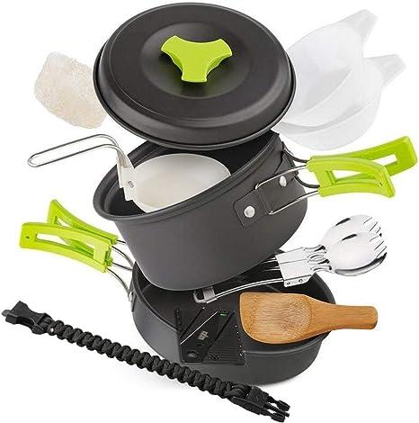EXTSUD Utensilios Cocina Camping para 1-2 Personas con Sartén de Aluminio, Cuchara de Sopa, Cuencos, Brazaletes con Pedernal, Esponja de Limpieza etc