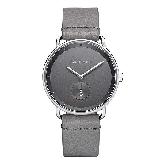 Paul Hewitt Breakwater Iron Grey - Reloj de Pulsera para Hombre (Acero Inoxidable, Correa de Piel), Color Gris Claro: Amazon.es: Relojes