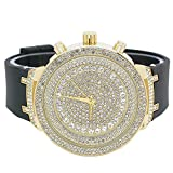 Mens Ice Master Fully Iced out Icy White Stones Gold Case with Black Silicone Band