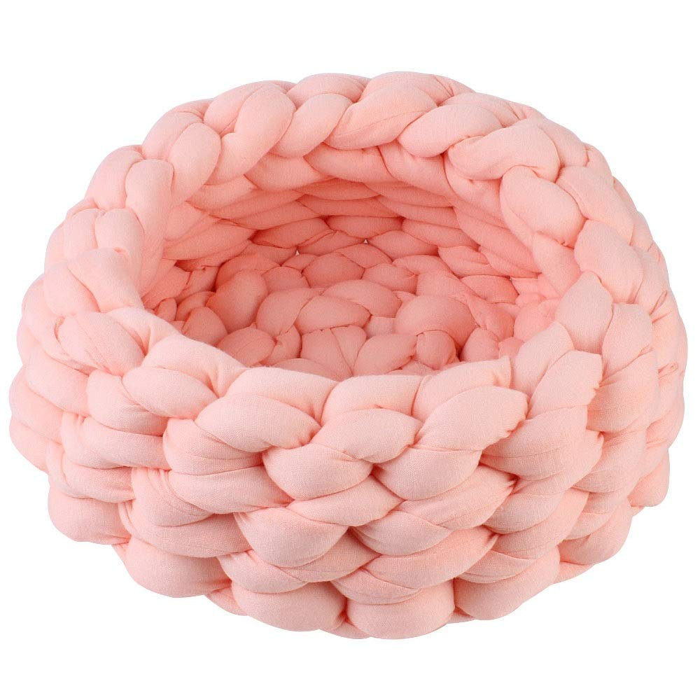 C Meng Pet Hand-Woven Pet Cave Bed Woven Pet Nest Warm Two-in-one Foldable Cave Shape Pet Cat Bed Dog Bed (Pale Pink ) (Size   C)
