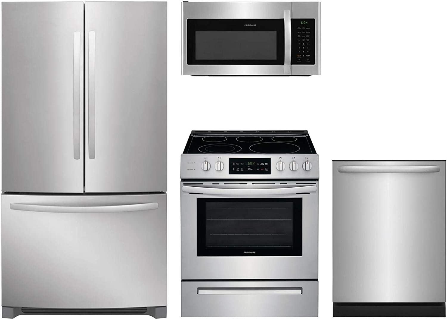 """Frigidaire 4-Piece Kitchen Appliance Package with FFHN2750TS 36"""" French Door Refrigerator FFEH3054US 30"""" Freestanding Electric Range FFMV1745TS 30"""" Over-the-Range Microwave and FFID2426TS 24"""" Fully Integrated Dishwasher in Stainless Steel"""