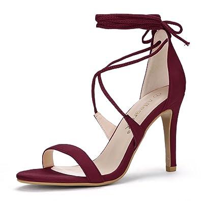 56f777727155 Allegra K Women s Lace-up Burgundy Sandals - 5 ...