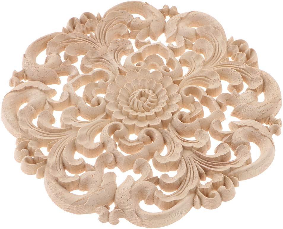 24x24cm B Blesiya Unfinished Wood Carved Flower Decal Corner Applique Frame Furniture Door Wall DIY Decoration as described