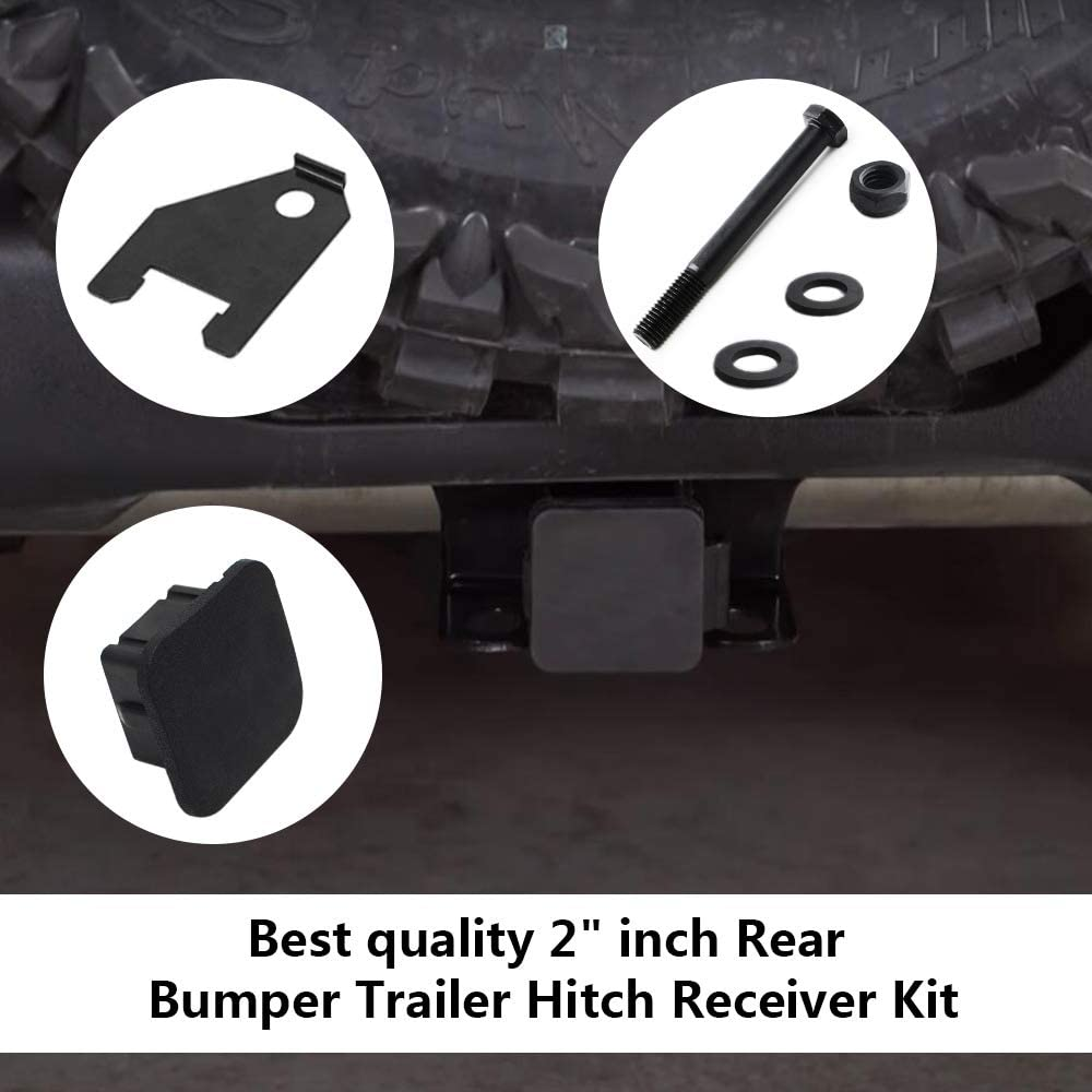 2 inch Rear Bumper Trailer Hitch Receiver /& Hitch Cover Kit Fits 2003-2018 Dodge Ram 1500 /& 2003-2013 Ram 2500 3500 Hitch Cover included Tow Combo 2 inch Receiver Hitch Towing Combo