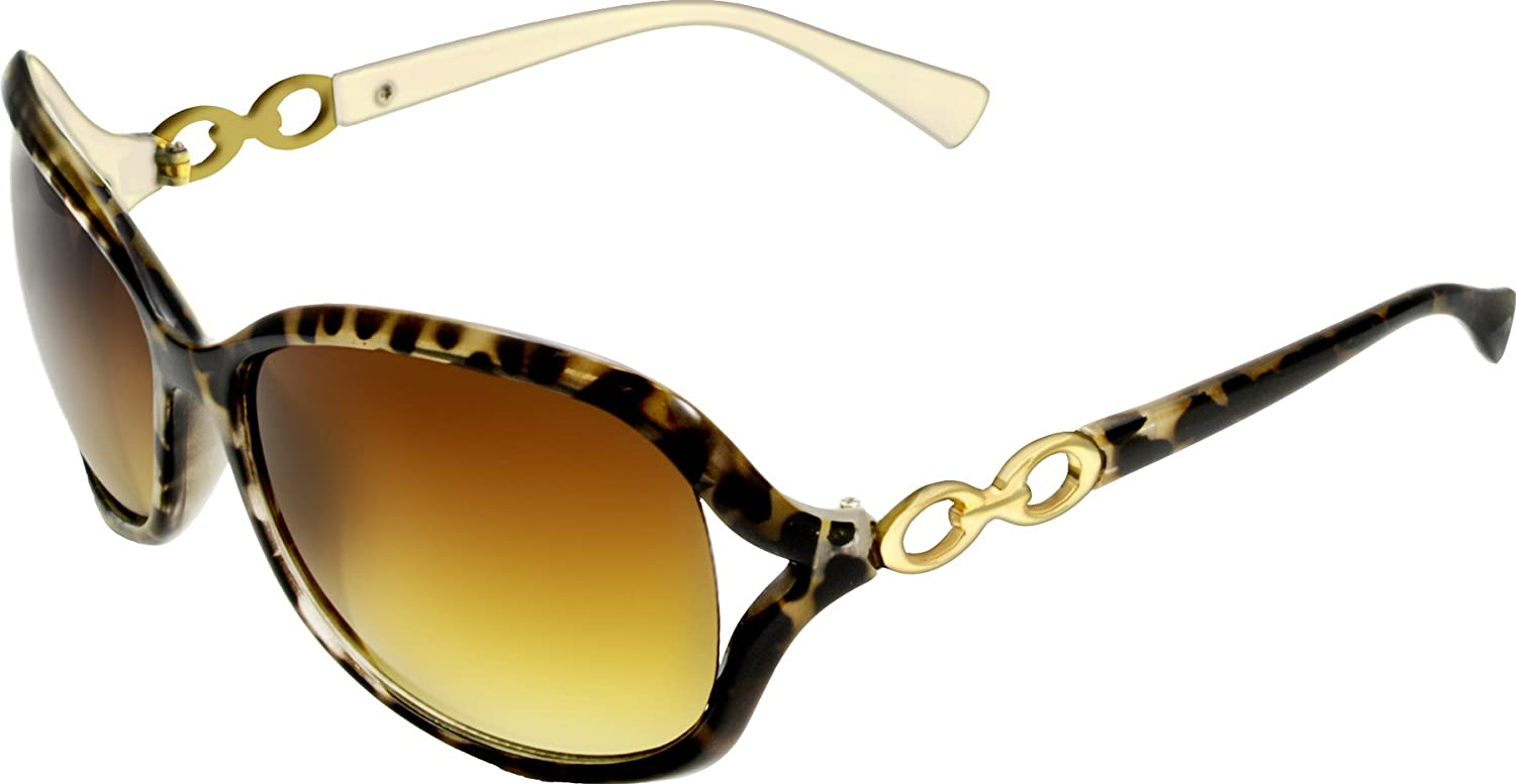 922f349be6f Amazon.com  Designer Inspired Animal Print Rounded Frame Fashion Sunglass  with Chain Temple Detailing  Clothing