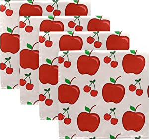 DOMIKING Holiday Cloth Napkins Dinner Napkin - Fruit Apple Red Reusable Table Napkins 20x20in Hemmed Edges Napkins for Kids Holiday Party Hotel Set of 4