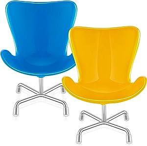 2 Pieces Miniature Swan Chair Doll Chair 1:6 Scale Plastic Swan Chair Model Dollhouse Miniature Furniture Swan Chair Simulation Mini Chair for Boys Girls Dollhouse DIY Pretend Play, Blue, Yellow