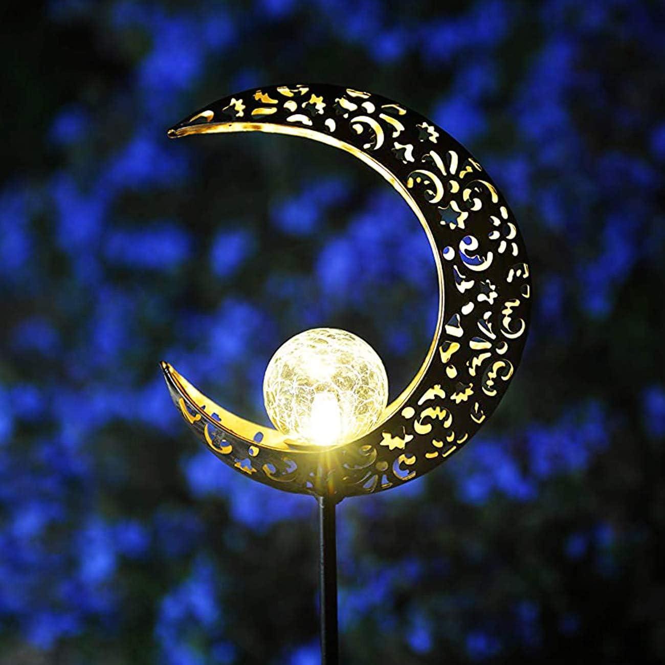 GLAM HOBBY Garden Solar Light Outdoor Decorative, Waterproof Moon Decor Light, Crackle Glass Ball Metal Garden Stake Light for Pathway, Lawn, Patio, Yard (Moon)