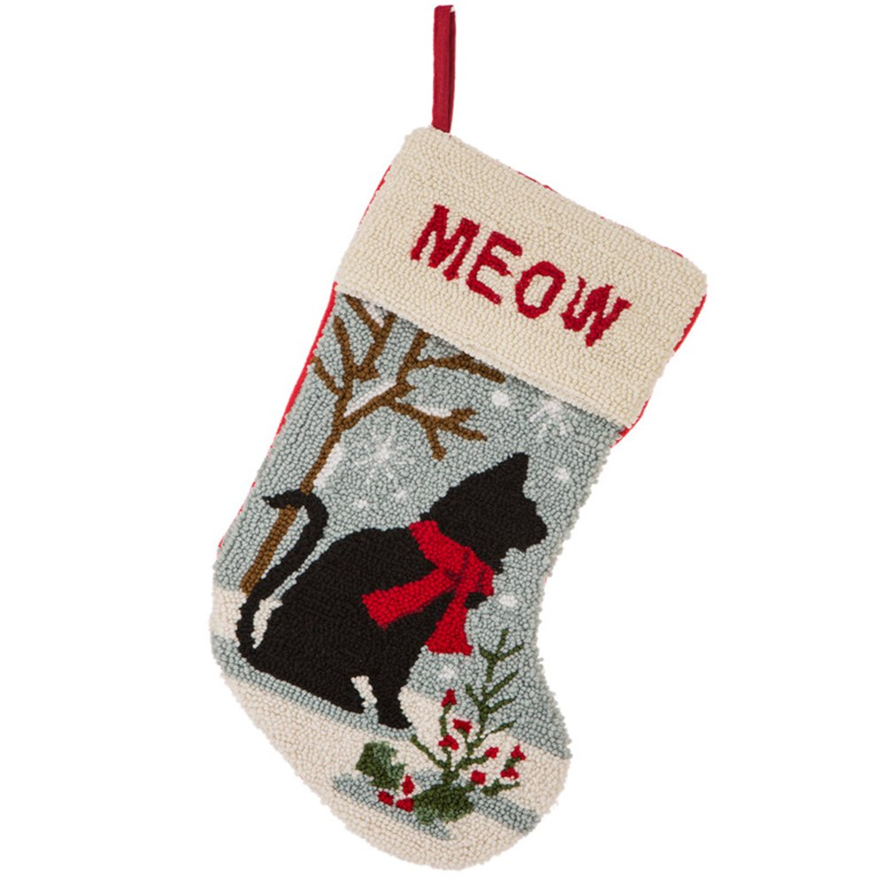 Glitzhome 19'' Handmade Hooked Cat Christmas Stocking