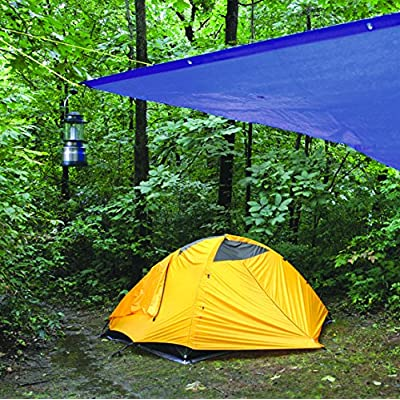 Performance Tool W6011 Reinforced Water Resistant Multi Purpose Blue Tarp, 4mil, 12-Feet x 16-Feet | Ideal for Tarpaulin Canopy Tent, Boat, RV Or Pool Cover | Perfect for Backpacking, Camping & Shelters
