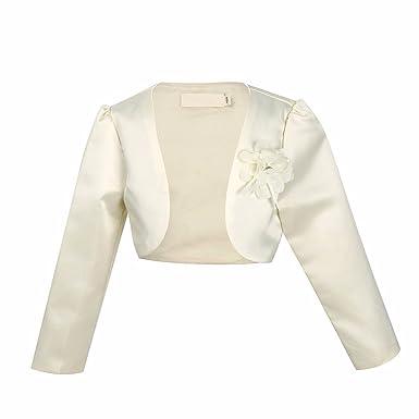 8cf9a1556441 Amazon.com  FEESHOW Kids Girls Long Sleeve Satin Bolero Shrug Jacket ...