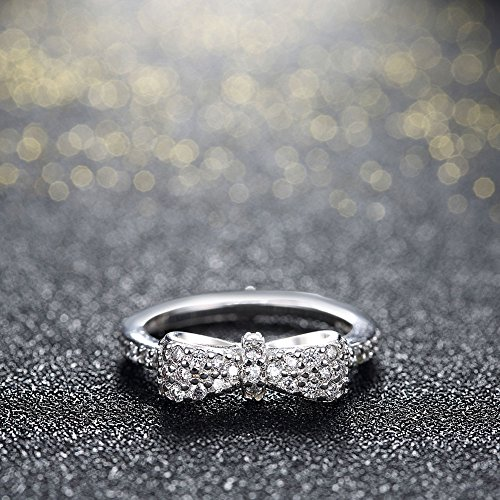 Women's 925 Sterling Silver Bow Knot Princess Wedding Band Cubic Zircon Eternity Engagement Promise Ring Adjustable Size