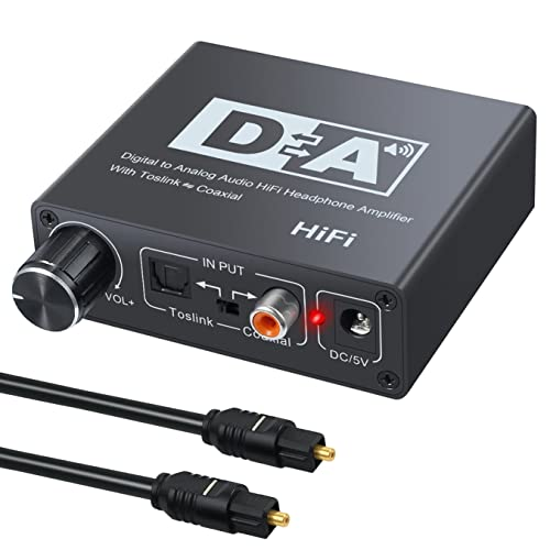 Neoteck 192KHz DAC Digital to Analog Converter SPDIF Optical Toslink Coaxial to Analog Stereo Left/Right RCA 3.5mm Jack Audio Adapter with Toslink to Coaxial and Coaxial to Toslink Bidirectional Switch for Set-top Box PS3 Xbox HD DVD PS4 Sky HD Plasma Blu-Ray Home Cinema Systems