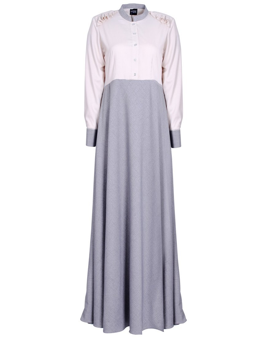 Easy DIY Edwardian Titanic Costumes 1910-1915 EDZ Womens Ruffled Shoulders Wide Flare Cotton Linen Modest Maxi Dress $85.00 AT vintagedancer.com