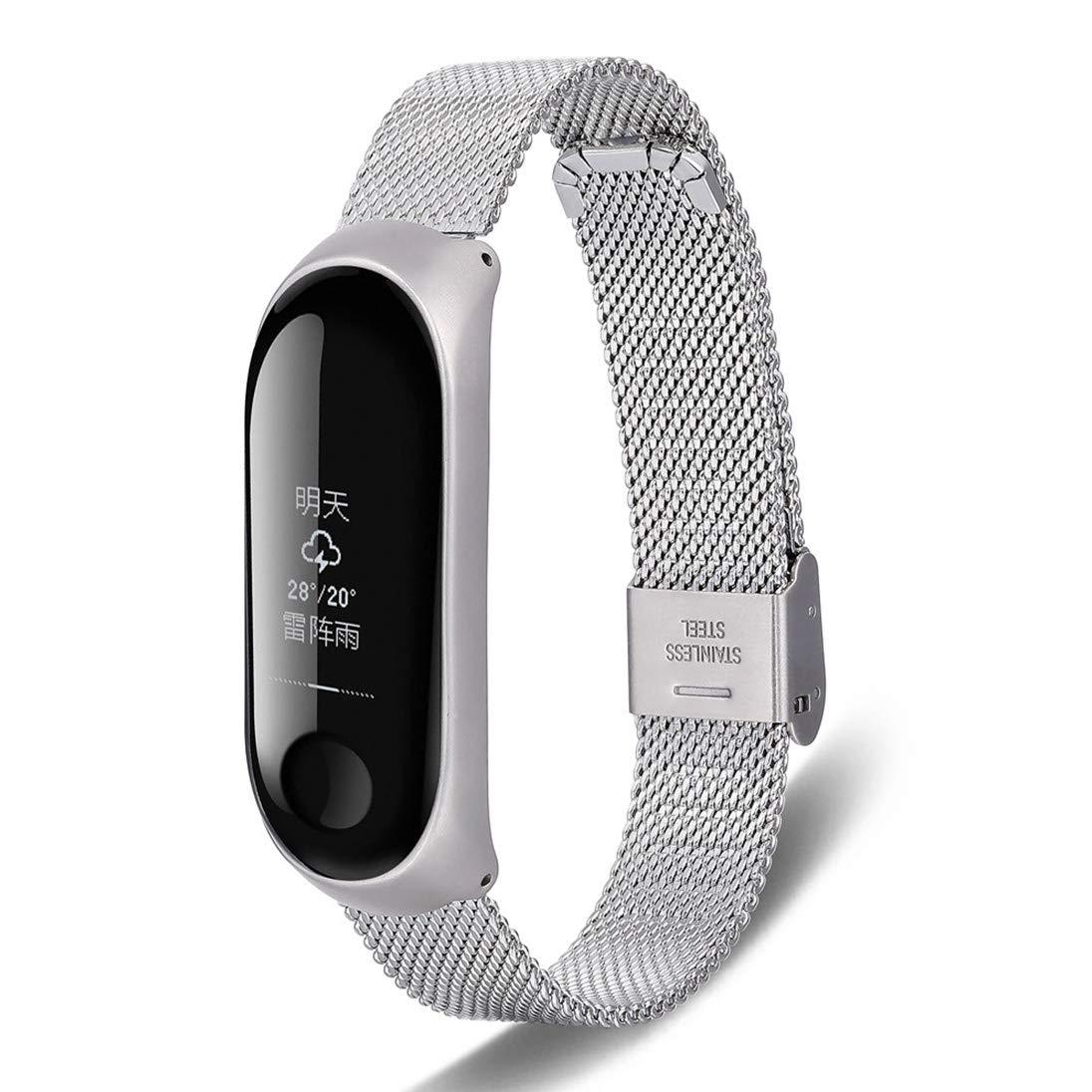 Correa de Reloj, Hanyixue Pulsera Ajustable de Acero Inoxidable, con Marco para Xiaomi MI Band 3