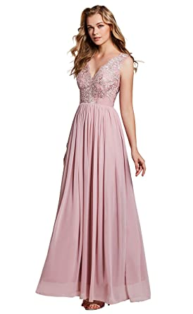 Selighting Womens A-Line Long Prom Dresses Chiffon Lace Bridesmaid Evening Gown (Pink,